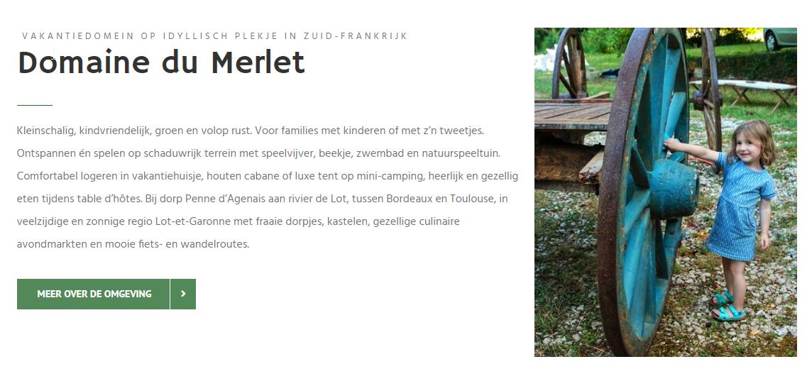 In ontwikkeling Domaine du Merlet Frankrijk Maeker webdesign